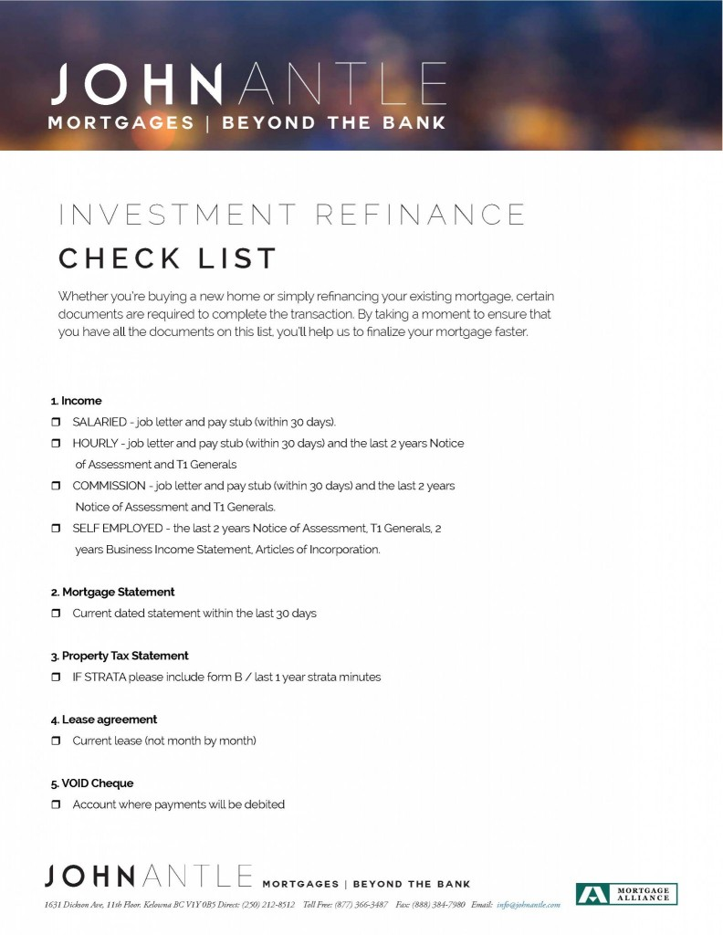 Kelowna Mortgage Broker John Antle Investment refinance checklist