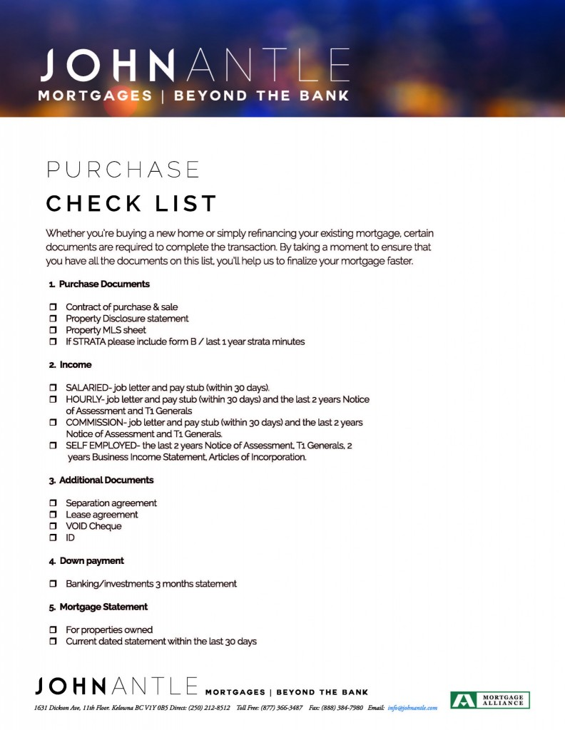 Kelowna Mortgage Broker John Antle Purchase checklist