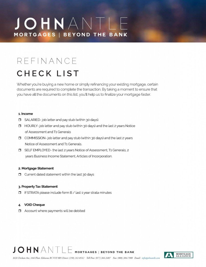 Kelowna Mortgage Broker John Antle Refinance checklist